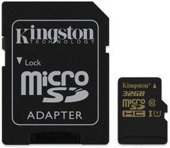 Карта пам'яті Kingston 32 GB microSDHC class 10 UHS-I + SD Adapter SDCA10/32GB