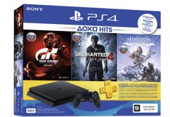 Ігрова консоль Sony PS4 Slim 500 Gb Black(HZD+GTS+UC4+Wargaming+PSPlus 3М)